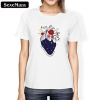 ingrosso albero di frutta della fragola-T-shirt da donna Sexemara New Summer Women Maglietta top Harajuku Fruit Strawberry Flowers Trees Stampa Punk T Shirt 2018 Casual T Shirt da donna