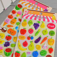 ingrosso diy cartoons di carta-Coreano Styling Kawaii 3D Cartoon Frutta DIY Diario Adesivi Bubble Decorazione per Notebook Album Carta di carta 1 85sr Z