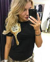 ingrosso donna magica magica nera-T-shirt estate sexy paillettes specchio magico o collo manica corta donna breve Tee nero bianco donna maglietta casual Top S-XL