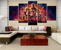 grandes cartazes decorativos da parede posteres venda por atacado-Grandes Avengers Infinito Guerra Movie Poster Americano Cartaz pintura da lona fotos para sala de estar arte da parede cuadros decorativos