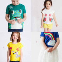 Wholesale Flower Frogs - NEW ARRIVAL Boys girl Kids 100%Cotton Short Sleeve cartoon frog flowers peacock print T shirt boys girl causal summer t shirt Free Ship