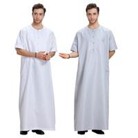 ближневосточная одежда оптовых-Мужская Исламская одежда кафтан мусульманский ближневосточный арабский Дубай мужские длинные Джубба Тобе плюс размер свободные Midi рукав сплошной цвет халат Абая
