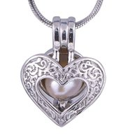 Wholesale carved plate resale online - Carve Heart pearl plated sliver oyster cage lockets Pendant Opening bead Lockets pregnant woman Jewelry P64