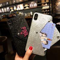bling telefon cüzdanı kılıfları toptan satış-PEMBE Kapak Bling Glitter Moda Tasarım Nakış Kart Cüzdan Ile Telefon Kılıfı Için iphone6s X 6 s 7 8 Artı