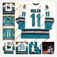 ingrosso misurazione jersey hockey-Uomo 11 OWEN NOLAN 39 friesen San Jose Sharks 1996 CCM Vintage maglie Maglie Retro Mens cucito Hockey Jersey taglia S-4XL