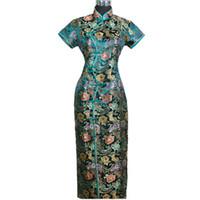 qipao cheongsam verde al por mayor-Green Spring Otoño Satén chino largo cabestro Cheongsam Qipao elegante vestido flor S M L XL XXL XXXL