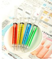 Wholesale Advertising Arts - 1000pcs Creative Ballpoint Pens syringe needle Ballpoint Pens needle ball pen trick of children's toys prize for students Advertising Gifts