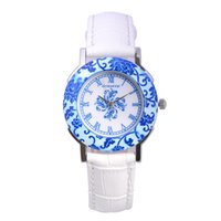 relógios de quartzo relógios venda por atacado-Popular porcelana azul e branca clássico relógio senhoras luxo melhor preço relógios de quartzo