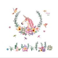 stickers muraux enfants achat en gros de-Vintage Fleur Oiseaux Licorne Stickers Muraux pour Enfants Chambre Fille chambre décor Mural décoration de la maison Stickers Papier Peint Cadeau 097