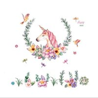 Wholesale vintage animal decals - Vintage Flower Birds Unicorn Wall Stickers for Children Room Girl Bedroom decor Mural home decoration Decals Wallpaper Gift 097