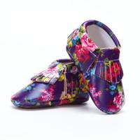 bebek deri ayakkabıları lastik tabanlar toptan satış-0-4 Yıl Bebek PU Deri Ayakkabı Saçak Sert Taban Bebekler Erkek Kız Bebek Moccasins Ayakkabı Kauçuk Taban kaymaz Toddlers