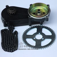Wholesale 12v gear resale online - 49cc pocket bike liya front gearbox transmission gear box mini motor atv stroke engine part with T8F Chain and plate MM