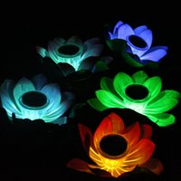 Wholesale lamps change colour - Artificial LED Lotus Lamp Solar Energy Outdoor Waterproof Change Colour Floating Wishing Light For Wedding Party Decoration Supplies 12cg YY