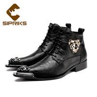 botas indias al por mayor-Sipriks para hombre botines de cuero con punta de tigre puntiaguda con decoración de metal zapatos de vestir a la moda botas de vestir de encaje negro indio