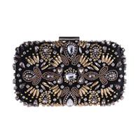 ingrosso catena del gemma nera-Vintage Luxury GEM strass nero borse da sera frizione donne lunga catena diamante borsa tracolla in rilievo festa di nozze borsa frizione