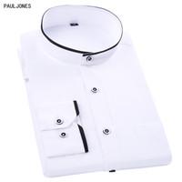 mandalina yaka stili elbise toptan satış-PAULJONES Yeni Uzun Kollu Mandarin Yaka Erkekler Gömlekler Beyaz Siyah Vintage Çin Stil Tranditonal Günlük İş Gömlek