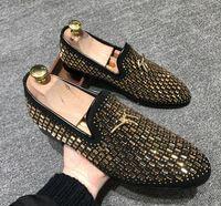 ingrosso mocassini di velluto-Scarpe da uomo da uomo in velluto da uomo, mocassini con diamanti d'acqua, pantofole di velluto, scarpe da uomo inglesi scarpe da uomo scarpe da sposa e scarpe da festa G165