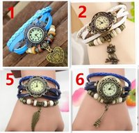 Wholesale Glass Butterfly Beads - Popular Mixed Style Vintage Weave Wrap Around Charm Bead Leather Bracelet Leaf Butterfly Eiffel Tower Heart Wings owl dolphin Quartz Watch.