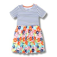 Wholesale Cute Baby Girl Chinese - Cute Girl Dress 100% Cotton Summer Dress Animals Appliqued Kids Short Sleeve Dress with Unicorn Baby Girl Clothing