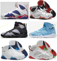 Wholesale thanksgiving sweater men - High Quality 7 7s Bordeaux Hare Olympic Tinker Alternate Men Basketball Shoes 7s Sweater UNC French Blue GMP Raptor Sneaker With Box