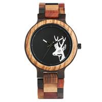 relógios de mão para as mulheres venda por atacado-Elegante Relógio De Madeira Feitos À Mão para As Mulheres Dos Homens Feitos À Mão De Bambu Relógio De Pulso Natural Cabeça De Veado Tatuagem De Quartzo Relógios erkek saati