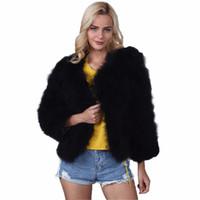Wholesale Womens Short Jacket Black - 2017 Winter Faux Fur Coat Women Long Sleeve Chic Warm Short Style Luxury Fur Jacket Womens Fake Rabbit Outwear Ladies 3XL F3
