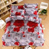 juegos de cama florales tamaño queen al por mayor-4 piezas de rosa ropa de cama conjunto funda nórdica romántica floral ropa de cama doble hoja de cama edredón edredón colcha tamaño Queen