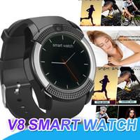 ingrosso vigilanza astuta del v8 del bluetooth-V8 Smart Watch Bluetooth SmartWatch con 0,3 M di TF card SIM SIM HD Full Circle Display Smart Watch per Android con scatola