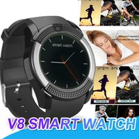 Wholesale camera control box - V8 Smart Watch Bluetooth SmartWatch With 0.3M Camera TF Card SIM IPS HD Full Circle Display Smart Watch For Android With Box