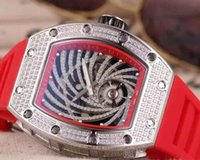 maquinas modernas al por mayor-Reloj de negocios de alta calidad para hombre automático de plata barril de diamantes banda de goma impermeable relojes de pulsera de los hombres modernos