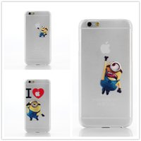 Wholesale Minions Casing - For iphone 5 5S SE Hard PC transparent matt Case Minions Painting protector cartoon Cell Phone Cases cover