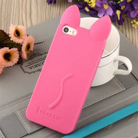 Wholesale purple cat ears - Cute 3D Cat Ear Cover For Iphone X Soft Silicone Phone Case Back Cover For 6 7 8 Plus