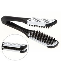 Wholesale double clamp - Hot Sale Pro Hairdressing Straightener Ceramic Hair Straightening Double Brushes V Shape Comb Clamp Styling Tools Not Hurt Hair Tools