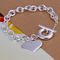 Wholesale silver rolo bracelet chain - 2018 New Fine 925 Sterling Silver Heart Charms Rolo Chain Bracelets & Bangle Jewelry Curb chain Link Toggle clasps Bracelet Gift for Lovers