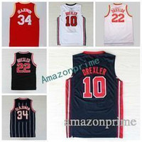 Wholesale usa rugby shirt xl - New 34 Hakeem Olajuwon Jersey Throwback Uniform 1992 USA Dream Team One 10 Clyde Drexler Shirt 22 Rev 30 New Material Red White Blue Size S-
