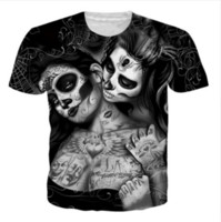 3d kafatası dövmeleri toptan satış-Yeni Moda Erkek / Bayanlar Dövmeler Kafatası Hipster Tees Unisex 3D Baskı Rahat T-Shirt Üstleri Artı Boyutu GL078