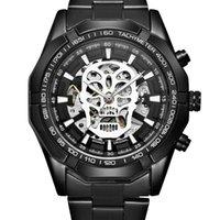relógio de luxo vencedor venda por atacado-VENCEDOR Novos Relógios Homens Top Marca de Luxo Automático Relógios Masculino Preto Completa de Aço Inoxidável Crânio Esqueleto Relógio Relogio masculino