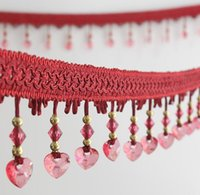 Wholesale wedding crystal trim resale online - 12Meter Heart Crystal Bead Tassel Pendant Hanging Lace Trim Ribbon For Window Curtains Wedding Party Decorate Sewing DIY