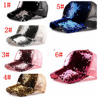 Wholesale leather ball caps for men resale online - Fashion Mermaid Sequins baseball hats Summer mesh cap casual ball cap snapback baseball caps hats for men women trendy Hip Hop hat KKA5571