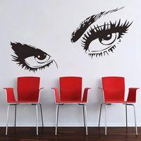 seksi duvar resimleri toptan satış-% Audrey Hepburn Seksi Gözler Duvar Çıkartmaları Oturma Odası yatak odası ev Dekorasyonu Diy Vinil Kız Ev Çıkartmaları Mural Art Poster