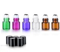 mini bouteilles d'huile essentielle achat en gros de-En gros 1 ml 2 ml bouteilles en métal rouleau pour les huiles essentielles mini verre rouleau sur les bouteilles avec couvercle noir SN1257