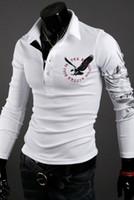 ingrosso camicie di aquila sottile-New Summer Fashion Brand Abbigliamento Uomo Polo Shirt Eagle Stampa Slim Fit Camicia a maniche lunghe Uomo Cotone Casual Autunno Polo