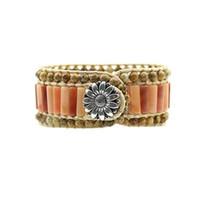 Wholesale bracelet aventurine resale online - New Three layer Handmade Sunflower Buckle Genuine Red Aventurine Picture Stone Beads Wrap Cuff Bangle Bracelet LL8189