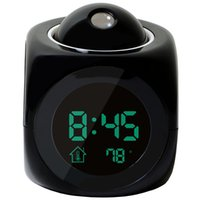 часы с несколькими тревогами оптовых-Alarm Clock Multi-function Digital LCD Voice Talking LED Projection Alarm Clock Black
