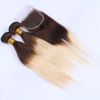 pacote de cabelo castanho cabelo humano venda por atacado-Reta de seda Ombre 4 613 Cabelo Tece Com Fecho de Renda 4x4 Marrom e Loiro Cabelo Humano 3 Pacotes Com Fecho de Renda