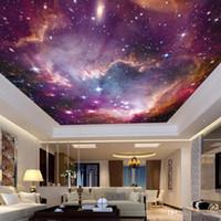 vinyl 3d decke großhandel-ktv Bar 3D Tapete Vliesstoff Universum Sternenhimmel Thema Hintergrund Wandaufkleber Decke Galaxy Murals 22jy Ww