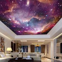 fondo de pantalla del techo del cielo al por mayor-Papel pintado no tejido Tela Universo cielo estrellado KTV bar 3D del fondo del tema etiqueta de la pared de techo Galaxy murales de Ww 22jy