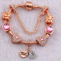 Wholesale double strand set - Fashion brand plated rose gold double heart pendant DIY bracelet for Pandora style
