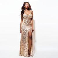 payet bustiers toptan satış-2018 Altın Pullu Maxi Elbise Zarif Akşam Madeni Pul Bornoz Seksi yüksek yarık Büstiyer Elbise spagetti kayış v boyun mermaid elbiseler