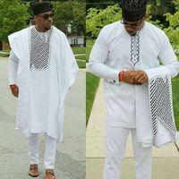 erkek takım elbise nakışı toptan satış-Moda adam afrika giyim erkekler dashiki bazin riche takım elbise gömlek pantolon tops 3 parça set nakış beyaz afrika mens giyim